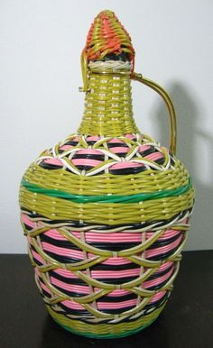 Vintage Viresa Wicker Woven Decanter Tramp Art Green Glass Wine Bottle Wood Base