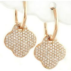 Jewelry Point 0 57ct Pave Diamond Dangle Drop Earrings 14k Rose Pink Gold 1 180 00