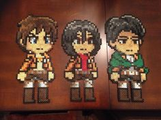 Attack on Titan: Eren, Mikasa, and Levi perler beads by ChizzyLizzy on deviantART