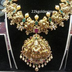 Indian Jewellery Designs: 3 Lakhs Elegant Pachi Lakshmi devi Necklace