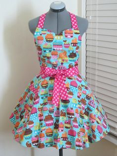 Blue Cupcakes Apron  Full of Twirl Flounce by AquamarCouture