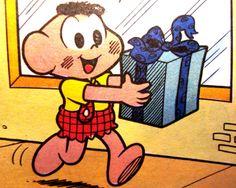Cascão leva um presente, ilustração de Maurício de Sousa.