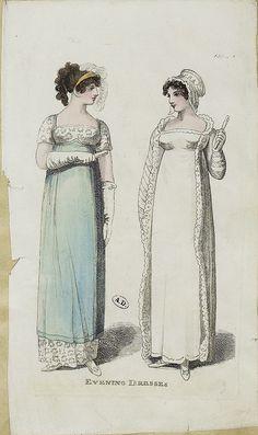 Two ladies in evening dress, 1809 Regency Dress, Regency Era, Historical Costume, Historical Clothing, Jane Austen, 1800s Fashion, Vintage Fashion, Illustration Mode, Empire Style
