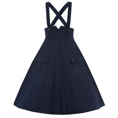 Pixie Navy Dungaree Swing Skirt | Vintage Style Skirts - Lindy Bop