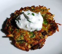 Zucchini, Potato and Scallion Pancakes with Chived Sour Cream