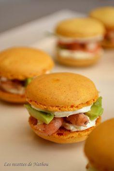 Les recettes de Nathou: Macarons pour l'apéro ! Curry, saumon fumé, pommes ... et spicy, avocat, crevettes grises...