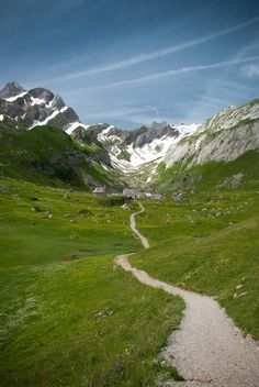 Hiking trail to Meglisalp in the Alpstein mountans in the canton of Appenzell, Switzerland.
