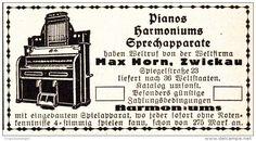 Original-Werbung/ Anzeige 1925 - PIANOS / HARMONIUMS MAX HORN - ZWICKAU - ca. 75…