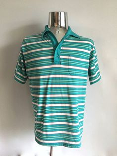 Vintage Men's 80's Striped Polo Shirt Turquoise