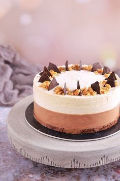 Hungarian Cake, Cookie Recipes, Dessert Recipes, Peanut Butter Mousse, Mousse Cake, Pretty Cakes, Cakes And More, Cake Designs, Cake Decorating