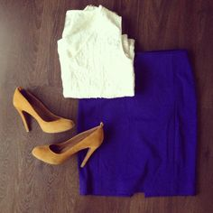 #mustard pumps #pencil skirt #cropped top