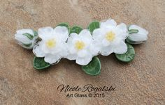 White Gardenias Set - Handmade Glass Beads