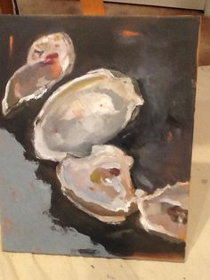 Oyster painting, Cindi Ornstein Oil on board