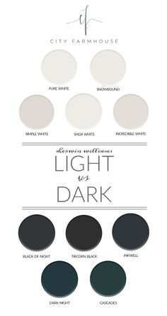 City Farmhouse - Sherwin Williams - Light vs Dark Paint Colors I have a paint dilemma, to go light or dark for the den walls. I have narrowed it down to my favorite Sherwin-Williams light + dark colors.