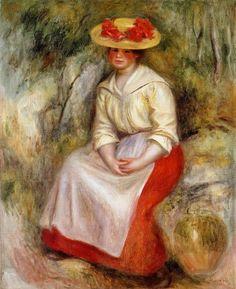 Impressionism — Gabrielle in a Straw Hat via Pierre-Auguste...