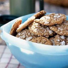 Molasses Cookies  Amount per serving        Calories: 66      Calories from fat: 27%      Fat: 2g      Saturated fat: 0.5g      Monounsaturated fat: 0.7g      Polyunsaturated fat: 0.5g      Protein: 0.7g      Carbohydrate: 11.8g      Fiber: 0.2g      Cholesterol: 4mg      Iron: 0.5mg      Sodium: 67mg      Calcium: 12mg