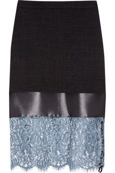 Topshop Unique Lace and satin-paneled woven skirt | NET-A-PORTER