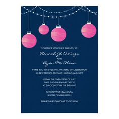 Fuchsia and Navy Paper Lantern Wedding Invitation