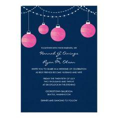 Fuchsia and Navy Paper Lantern Wedding Invitation