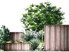 Garten Planen Holzzaun markieren Baum Sträucher