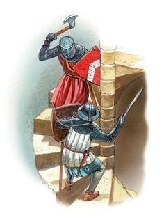 Soldiers fighting on a spiral staircase
