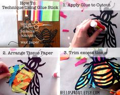 Kids Craft Butterfly Stained Glass Suncatcher Kit / glas in lood figuur in papier