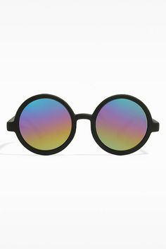 'Miller' Oversized Round Color Mirror Sunglasses - Matte Black/Rainbow - 5361-3
