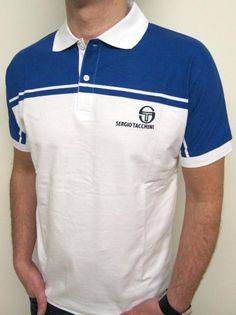Sergio Tacchini New Young Line Polo Shirt White/Royal Blue   A collectors ltd edition  A classic mcenroe and Pat cash wimbledon winners design always the most remembered of tacchini polo shirts. £35.00