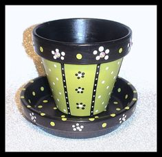 Apple of My Eye Handpainted Flower Pot and by WhippinUpWhimsey