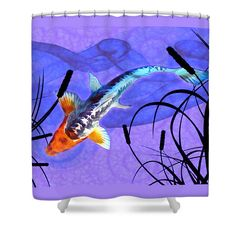 Koi Shower Curtain featuring the painting Shusui Koi In swirling Watercolor Background With Plant Shadows by Elaine Plesser. The royal blue and orange Shusui koi blends into the swirls of the pond and water plants.
