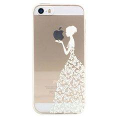 JIAXIUFEN Neue Modelle TPU Silikon Schutz Handy Hülle Case Tasche Etui Bumper für Apple iPhone 5 5S - Henna Series Apple Butterfly Girl