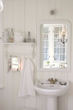 Vintage white cottage bathroom