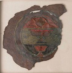 Fragment of Blazon  Object Name: Fragment   Date: 15th century   Geography: Egypt Medium: Leather, metal wire, wool, and cotton