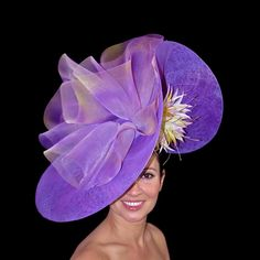 Ilda Di Vico, Hat Designer to Celebrities and The Royal Family millinery judithm hats Wonderful swirl of sinamay. Red Hat Society, Crazy Hats, Church Hats, Fancy Hats, Kentucky Derby Hats, Wedding Hats, Love Hat, Purple Fashion, Red Hats