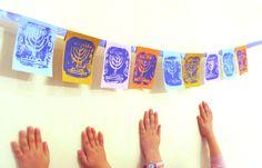 DIY Festive Chanukah Bunting And Chanukah Cards From Styrofoam Prints - via Creative Jewish Mom