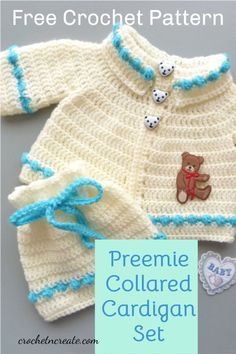 Free baby crochet pattern for preemie collared cardigan set on crochetncreate. #freebabycrochetpattern.