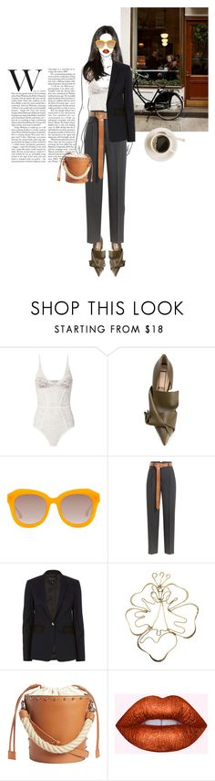 """""""I like my coffee watered down."""" by jiayixo ❤ liked on Polyvore featuring Fleur du Mal, N°21, Alice + Olivia, Golden Goose, rag & bone, Rosie Assoulin and J.W. Anderson"""