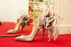 Beautiful CHRISTIAN LOUBOUTIN shoes with feathers!