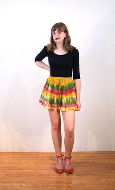 Chichi, 90s Tie Dye Mini Skirt XS, Metallic Skirt, India Cotton Rainbow Mini Skirt, Rasta Mini Skirt, Boho Mini Skirt, Vintage Hippie Skirt