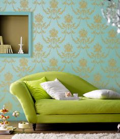 Stylish Living Room With Blue Damask Wallpaper And Lime Green Chaise : Decorate Your Home With Damask Wallpaper Damask Wallpaper Living Room, Of Wallpaper, Living Room Green, Chic Living Room, Living Rooms, Living Room Interior, Interior Design Living Room, Chartreuse Decor, Room Wall Colors