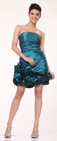 Taffeta Jade Cocktail Dress Ruched Rose Hem Short Strapless Prom Dress $96.99