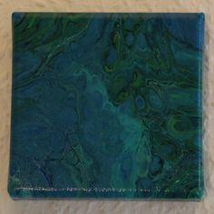 Acrylbild 10x10 Blau, Grün #etsy #kunst #malerei #blau #geburtstag #