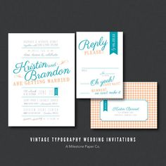 Vintage Typography Wedding Invitations, Printed, Printable. $50.00, via Etsy.