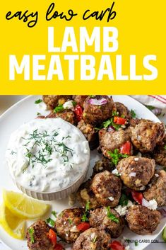 Easy Low Carb Lamb Meatballs have Greek-inspired flavors that are addictively good. This recipe is made with ground lamb and can be baked or air fried.  It is SO EASY to make.  With an unexpected burst of flavor from salty feta, they are always a welcome addition to our dinner table. Serve them with Tzatziki Sauce and be prepared for happy smiles all around. Easy Healthy Recipes, Low Carb Recipes, Real Food Recipes, Diet Recipes, Ketogenic Recipes, Ketogenic Diet, Pizza Joint, Lamb Meatballs, Ground Lamb