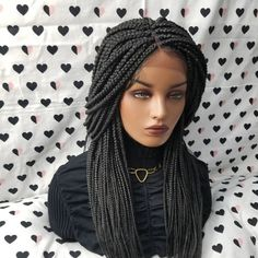 All styles of box braids to sublimate her hair afro On long box braids, everything is allowed! For fans of all kinds of buns, Afro braids in XXL bun bun work as well as the low glamorous bun Zoe Kravitz. Box Braid Wig, Braids Wig, Ghana Braids, Braid Hair, Cornrows, Box Braids Hairstyles, Hairstyles Haircuts, Lace Front Wigs, Lace Wigs