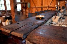 Bar top made from reclaimed barn floor boards