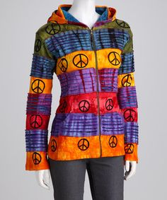 Take a look at this Rainbow Stripe Peace Zip-Up Hoodie - Women by Rising International on #zulily today!