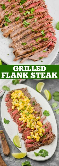 Grilled Flank Steak is such an easy delicious dinner. It is wonderful with so many different sides, and is sure to be a hit with your family Fun Easy Recipes, Easy Meals, Dinner Recipes, Keto Recipes, Flank Steak Recipes, Skewer Recipes, Quick Easy Dinner, Fast Dinners, Best Comfort Food
