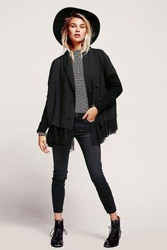 31 All-Black Outfit Ideas That Are Seriously Creative.i love the jacket!!  Switch it up ever so slightly with a touch of black-and-white stripes.