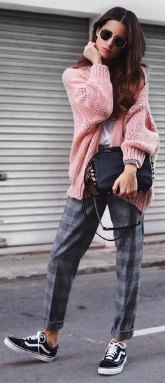 #winter #fashion /  Pink Cardigan + Checked Pants
